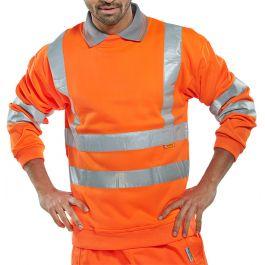 B-Seen Hi-Vis Railway Fleece Sweatshirt Orange