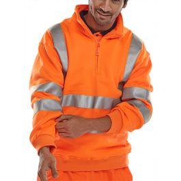B-Seen Hi-Vis Railway Quarter Zipped Sweatshirt Orange