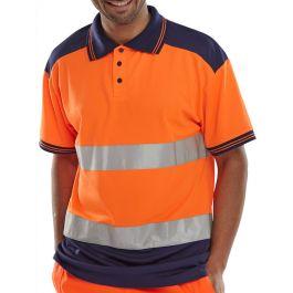B-Seen Hi-Vis Polo Shirt Two Tone Orange / Navy