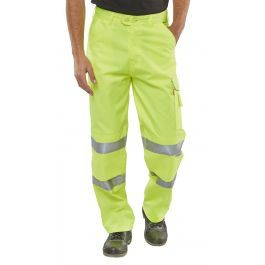 B-Seen Hi-Vis Poly Cotton Trousers Saturn Yellow