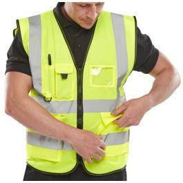 B-Seen Executive Hi-Vis Zipped Vest Waistcoat Saturn Yellow