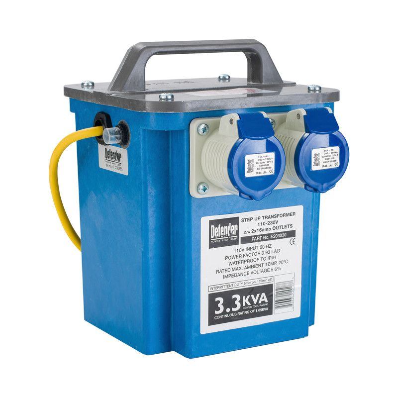 Defender 3.3kVA Step-Up Transformer 2x 16A 240V Outlets